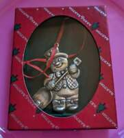 Reed and Barton Snowman 1999 silver plate Holiday ornament with red ribbon.