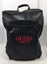 GUESS Aspen '93 Black Faux Leather Backpack 2 Pocket Red Embroidering