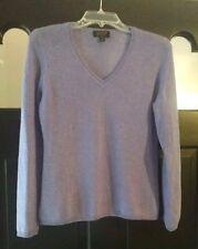 CHARTER CLUB LUXURY 100% Cashmere V-Neck Lavender Sky Sweater Sz PM Beautiful!