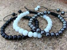 3 Men's Gemstone bracelets black glass hematite white alabaster all 8mm beads