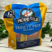 Pacific Gold All Natural Variety Pack Beef Jerky 12 Snack Bags Original Teriyaki