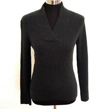 Pria Womens V-neck Sweater M Shawl Collar Charcoal Gray Ribbed Knit 100% Cotton