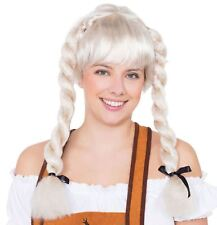 Blonde Bavarian Fraulein Pigtail Plaits Oktoberfest German Fancy Dress Wig