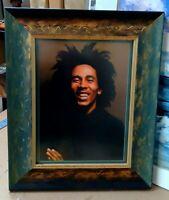 BOB MARLEY 1977 PORTRAIT PHOTO IN HERBAL GOLD LEAF FRAME EXODUS NAYA RASTA GANJA