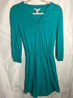 Lilly Pulitzer Teal Women's Size XS Long Sleeve Button Up Front Pocket Dress