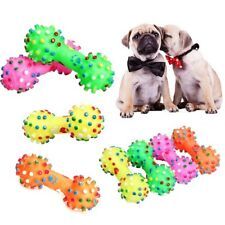 Pet Dog Chew Toy Soft Rubber Bone Squeaky Toy Colorful Dot For Puppy Dog 1PC