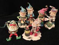 Set Of 6 Vintage Mini Christmas Elf Figures