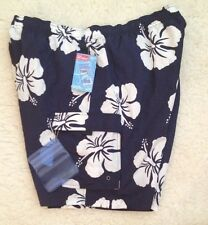 NWT St. John's Bay Navy HIBISCUS Swim Trunks Shorts w/SAF-T WALLET Mens XL 40 42