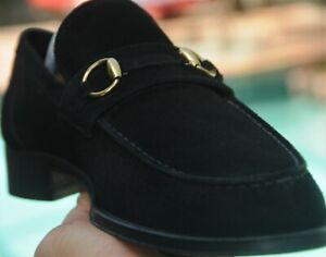 GUCCI Men's  TOM FORD ERA Black Suede  horse bit Loafers shoes brand size 42E