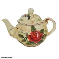 Maxcera China Rose Teapot And Creamer Antique Style Romantic Cottage