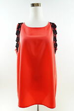 THE LIMITED Women's Orange Floral Embroidered Trim Sleeveless Blouse Size L