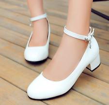 Strap Mary Jane Lolita Pumps Shoes Plus  Womens Patent Cuban Heel Ankle
