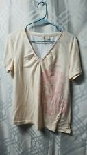 Womens Riders Size XL Peach V Neck Floral Print Tee