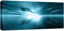 LARGE TEAL SUNSET SEA BEACH BOX CANVAS SEASCAPE WALL ART PICTURE  113 CM x 52CM