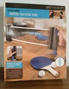 NIB EMERSON SPRING LOADED RETRACTABLE TABLE TENNIS SET
