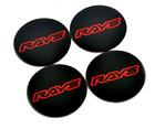4x45mm Rays Black Red Car Wheel Center Cap Emblem Sticker