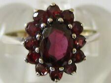 Garnet Cluster Ring - Uk Size M Nr Fine Vintage/Antique 9Ct On Solid Silver