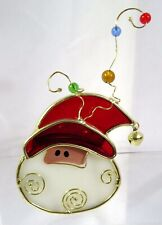 """A13 Christmas Stained Glass Santa Candle Holder 4.5"""""""