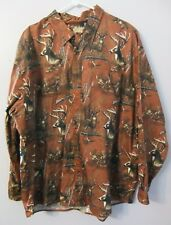 MEN'S LEGACY FALL OUTFITTERS - XXL - DEER PATTERN BROWN LONG SLEEVE BUTTON DOWN