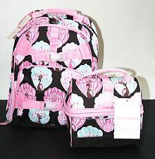 NWT POTTERY BARN Girl LARGE Mackenzie Chocolate PEACOCK Backpack Retro Lunch Bag