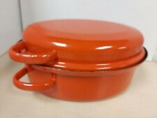 Orange Metal Casserole Dish 31x24x14cm B63