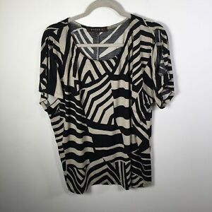 Maggie T womens black and beige geometric top size 1 short sleeve