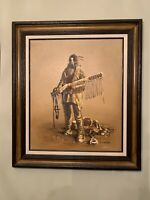 Western Art Original Oil Painting J Stanford With Frame, Fur Trapper With Musket