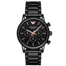 NEW EMPORIO ARMANI MENS BLACK ROSE GOLD CERAMIC WATCH - AR1509 - RRP £409