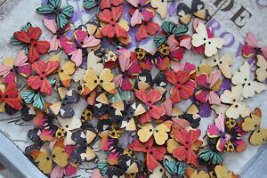 Schmetterling Holzknöpfe Holz Knopf Scrapbooking 2 Loch Button bunt Butterfly