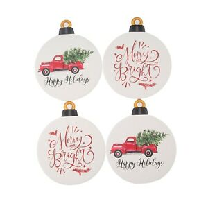 Set of 4 Holiday Time Red Pickup Truck and Merry Bright Ornament Coasters -1278