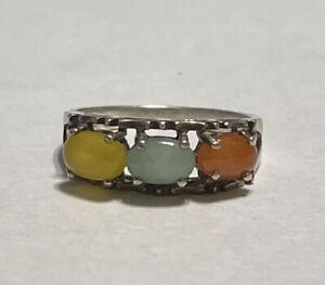 Sterling Silver AVON Yellow Green Orange Jade Ring Size 5