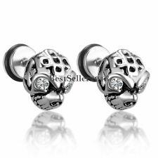 2pcs Men Boys Stainless Steel Gothic Punk Skull Skeleton Head CZ Stud Earrings