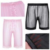 Men's Lingerie Sissy Boxer Shorts Underwear See-through Lounge Pants Nightwear