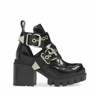 NEW JEFFREY CAMPBELL DRIFTER Cutout Moto Buckle Bootie Black Box Leather