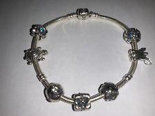 """Authentic PANDORA Sterling Silver Charm Bracelet 8.3"""" 925 & 14K ALE Aquamarines"""