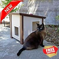 Outdoor Cat House Shelter Enclosure Waterproof Gray