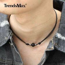 Black Lava Rocks Beads Necklace Man-made Leather Rope Choler Men Women Unisex
