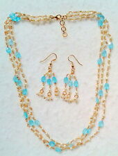 Faceted Aqua Blue Necklace And Earring Set New 3 Strand Cultured Mini Pearls And