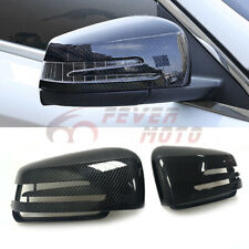 Fit 10-14 Mercedes W212 E250 E350 Carbon Fiber Style Side Mirror Cover Caps FM