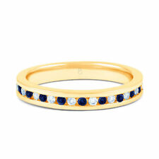 Wedding Natural Sapphire Yellow Gold Fine Rings