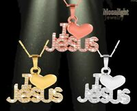 New I love Jesus Heart Crystal Pendant Womens Necklace