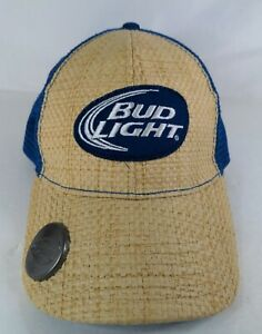 Bud Light Straw Truckers Snapback Cap with Bottle Opener See Pics & Details
