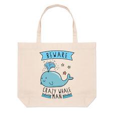 Tenga cuidado con Crazy ballena Hombre Grande Playa Bolso Hombro-animales graciosos