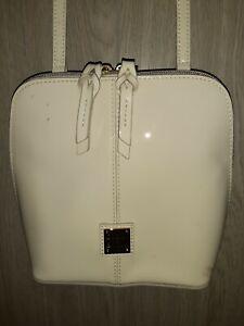 Dooney & Bourke Ivory Patent Leather Large Trixie Crossbody Handbag