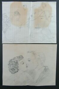 Vintage Lot of 2 1930's Era Pencil Drawings Flapper Girl Kissing - Glamour Girl
