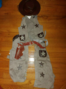 Toddler Boy Spirit Taupe Cowboy Vest Hat Chaps Halloween Costume Size 2T 3T 4T