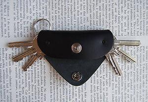 Leather key holder, Holds 1-6 regular keys, snap button, 3 mm brass shaft