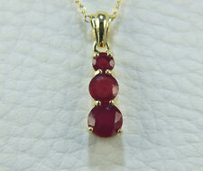 STUNNING AFRICAN RUBY TRILOGY PENDANT WITH CHAIN 2.340ct 14K GOLD OVERLAY 925SS