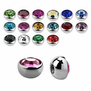 ❤ 1,2 mm Schraub Kugel Piercing Ball Groß Kristall Gewinde Ersatz Zubehör Lippe