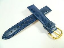 17 mm Bleu Bracelet de montre marquage lézard Bracelet de montre cuir 1711
